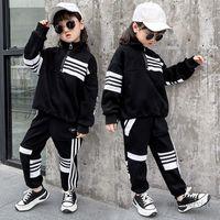 Big boys stripe sports clothes sets kids high collar long sleeve sweatshirt+elastic ribs ankler pants 2pcs children casual outfits Q2323