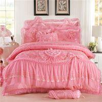 4 unids rosa en forma de corazón de lujo conjuntos de cama de lujo reina reina ropa de cama sábanas de cama de algodón princesa encaje edredón cubierta 357 r2