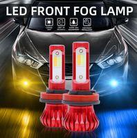 Car Headlights 2pcs Bulbs H11 H8 H9 H7 LED Fog Light Bulb 3000K Yellow 6000K Ice Blue With Strobe Mode Dual Color