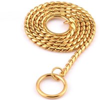 """Dog Collars & Leashes Rich Temperament Copper Chain """"Gold"""" Free Stretching Rope Collar Pet Snake Two Rings Easy Separation Noble"""