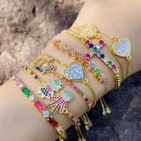 European and American diamond Charm Bracelets shine colorful zircon peach heart fashion women Designer Bracelet