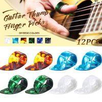 Selüloit Gitar Pick Thumb Index Parmak Saklama Kutusu ile Çekin Yaylı Müzik Aletleri
