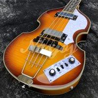 4 cuerdas Hofner McCartney H500 / 1-CT Contemporáneo BB2 Violin Guitar Guitarra Vintage Sunburst Eléctrico Bass Flame Maple Top Back, 2 511b Pastillas de grapas