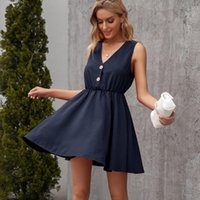 Casual Dresses Summer Women's Dress 2021 Sexy V-Neck Button Plus Size Black Party Vestidos De Fiesta Y2k Traf Robe Femme