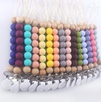 28 Colors Silicone Baby Pacifier Chain Clips Holder Wood Beaded Soother Clip Nipple Teether Strap