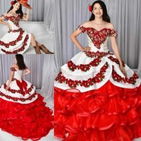 Unique Red And White Quinceanera Dresses With Removeable Skirt 2 In 1 Embroidery Sweet 15 Dress Organza Ruffles Applique Prom