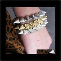 4 couleurs UNISEX ROCK PUNK Style Gold Silver Bronze Pistolet Black Tone Stretch Stretch Bracelet Tszm7 Charm Bracelets Mejfw
