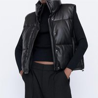 Women's Down & Parkas Sleeveless Parka Coat Winter Jacket Stand Collar Top Adjustable Hem PU Leather Vest Women Coats Female Waistcoat