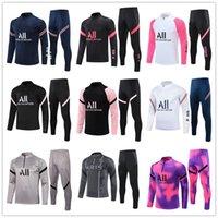 "2021 jogging football tracksuits PSG""Paris""training suit kits MESSI 21 22 MBAPPE mens jacket survetement foot soccer chandal Sportswear"
