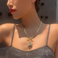Pendant Necklaces Gothtic Gold Lock Chunky Chain Necklace For Women Men Big Unlockable Key Exaggerated Jewelry Gifts