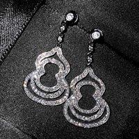 Dangle & Chandelier Gourd Bling Crystal Zircon Diamonds Gemstones Long Drop Earrings For Women White Gold Silver Color Jewelry Party Accesso