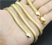 Cadenas de serpientes planas de 6 mm 18k Collares chapados en oro Joyas Hombres Mujeres Moda Moda Hip Hop Joyería 18 20 22 24 26 28 30 pulgadas