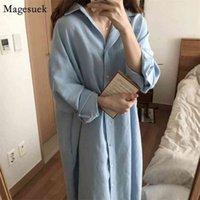 Spring Long Shirt Dress Women Vintage Cotton White Female Sleeve Plus Size es for Robe Vestido 9649 210512