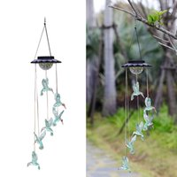 Solarlampen Kolibri Windspiele Farbe ändern Mobile Außenbeleuchtung Hängende Terrasse, Veranda, Deck, Gartendekor