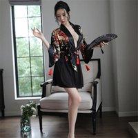 Ethnic Clothing 2PCS Japanese Floral Print Kimono Sexy Dress Women Tussel Pajamas Lingerie Yukata Robe Costumes V Neck Cardigan Sleepwear