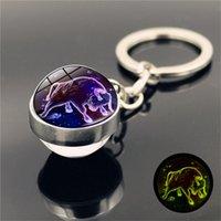 dropship 12 Constellation Luminous Keychain Glass Ball Pendant Zodiac Glow In The Dark Key Chain Holder Men Women Birthday Gift