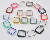 Apple Iwatch Series 용 필름 화면 보호기가있는 PC 하드 시계 케이스 5/4/3/2/1 전체 커버리지 케이스 38 40 42 44mm APP 패키지 포함