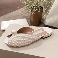 (z pudełkiem + worka na kurz) wszystkie perły slajdowe białe satynowe sandały damskie kapcie buty plażowe lato New arrival niski obcas dorywczo sandały