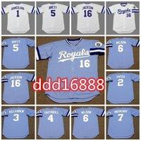 Costurado 16 Bo Jackson 1989 Vintage Baseball Jerseys 5 George Brett 15 Darrell Porter 13 David Cone 3 Harmon Killebrew 1 Buddy Biancalana