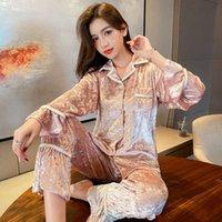 Autumn winter new Sleepwear cardigan velvet women's trousers long sleeve nightgown home wear set