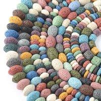 Spacer allentato della pietra naturale della pietra della lavica del colore misto naturale per la fabbricazione dei gioielli per le perline del tubo di riso di Rondelle accessorries fai da te