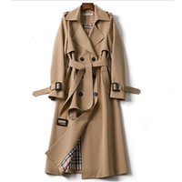 Женская траншея пальто Длинное пальто Женщины осень зима двуспальны с поясным плащюром муджером ветровка женской бизнес верхняя одежда