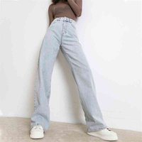 Женщина джинсы мода прямой нога парень брюки с высокой талией повседневная сумка джинс новая женская одежда свободная джинсовая мама брюк 210329