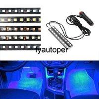 Auto Atmosphere Lamps Interior Decorative Lamp Cigarette Lighter Adapter 2pcs Car LED Dash Floor Foot Strip Light Car-Styling