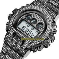 Missfox Eternity V304 Hip Hop Relojes para hombre Multifunción CZ Diamond Inlay Dial Dial Digital Movimiento electrónico Hombres Reloj Hombres helados Diamonds Caja de aleación Brazalete negro