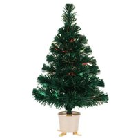 Christmas Decorations 24 Inch Green Fiber Optic Lighting Tree With Colorful Changing LED Lights