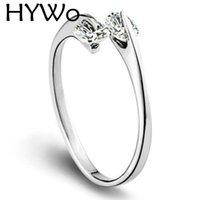 Hywo Clear Zircon 925 Sterling Silver con donne Festa di nozze Anelli di moda Doppio Diamante Anello singolo Aperto Design Fit Pandora