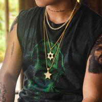 Pendant Necklaces American Necklace Unisex Hip Hop Rock Style Jewelry Hexagram Link Chain