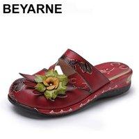 BEYARNE Flower Sandals Genuine Leather Shoes Woman Handmade Slides Flip Flops Platform Clogs For Women Plus Size 210712