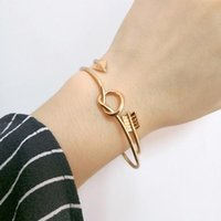 Bracelet Bangles For Women Bangle Simple Gold Color Knot Arrow Charms Jewelry Adjustable