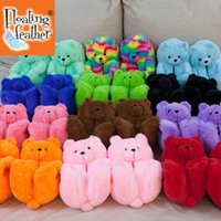 Plush Teddy Bear House Slippers Brown Women Home Indoor Soft Anti-slip Faux Fur Cute Fluffy home slippers Women Winter Warm Shoe H0914