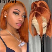 Wig with transparent human hair net on the front, female, false lace short turmeric and orange Bob, straight, shadow, 13x4