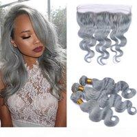 Extensions de cheveux Virgin Virgin Grein 3 Bundles Slivery Wave Slivery Grey Human Cheveux Tissage de cheveux avec 13 * 4 Fermeture de la dentelle Frontale