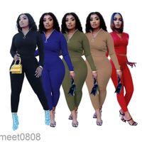 Designer women solid color tracksuits zipper long sleeve tops+pants two piece set outfits casual jogging suits plus size clothes meet0808