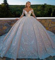 Luxury Church Arabic Dubai Wedding Dresses 2021 Bridal Gown V Neck Long Sleves Glitter Sequins Beadings Plus Size Vestidos De Noiva Mariage
