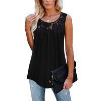 Women's Blouses & Shirts Womens Sleeveless Lace Active Tank Tops Ruffle Loose Tunic Blouse Shirt Camisetas De Mujer Blusas Bluzka Jedwab Rou