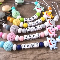 ins Baby Pacifier Clips Nipple Holder Chain Shark Silicone Teething Beads kids Birthday Shoher Tiny Dum Toy