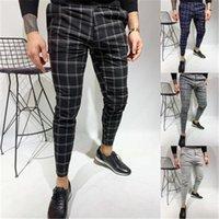 Hommes Double Pantalon à carreaux Fashion Tendance de la mode Couleurs imprimées Casual Check Social Concepteur Mâle Automne Business Fit Fit Pantalon à rayures