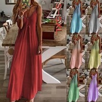 High Quality Design Dress Fashion Plus Size Casual Skirt Ladies Non-slip Suspenders Gradient Color V-neck Beachwear