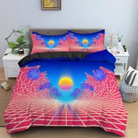 Bedding Sets Neon Grid And Purple Sun Set Retro Duvet Cover Abstract Comforter With Pillowcase King Queen Home Textiles