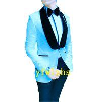 Handsome Embossing Groomsmen Shawl Lapel Groom Tuxedos Men Suits Wedding Prom Man Blazer ( Jacket+Pantst+Tie) Y331