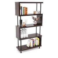 S-vormige 5 plank boekenkast, houten z-vormige 5-tier vintage industriële etagere boekenplank staan voor thuis kantoor woonkamer decor boeken display (bruin)