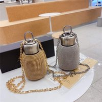 Bling luxury insulated water bottles 300ml beaded crystal fashion designer Thermal Insulation stainless steel tumblers with box cross body gold silver thermos