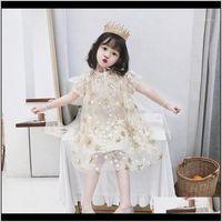 Dresses Clothing Baby, & Maternity Drop Delivery 2021 Children Summer Dress Baby Girls Pentagram Embroidery Pattern Mesh Design Kids Princess