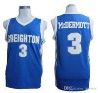 Mens Creighton Bluejays Doug McDermott College Basketball Jersey Blue # 3 Doug McDermott Shirts University Stitched Jerseys S-XXL