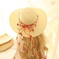 Caps & Hats Princess Kids Bowknot Decoration Straw Sun Hat Toddler Wide Brim Protection Beach Swimwear Bucket